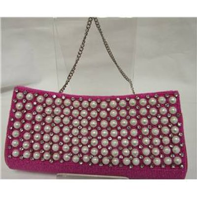 Unbranded S: M Womens Pink Beaded Clutch Bag
