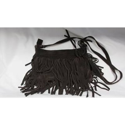 Past Times Fringed Leather Handbag Past Times - Size: M - Brown - Handbag