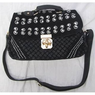 Jewelled Leather Handbag Unbranded - Size: Not specified - Black