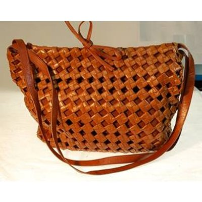 Bottega Veneta tan leather lattice & suede lined handbag