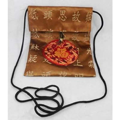 Brown and red fabric cross body bag