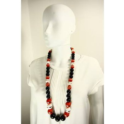 Unbranded black & orange mix large beaded necklace