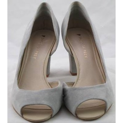 Shoes of Prey, size 8 light grey suede open toe D'Orsay pumps