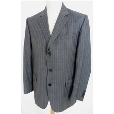 Jaeger Size 40R jacket & 36R trousers Grey Striped Designer Single Breasted Suit