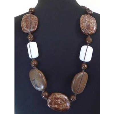 Chunky 26'' Wood Effect Necklace
