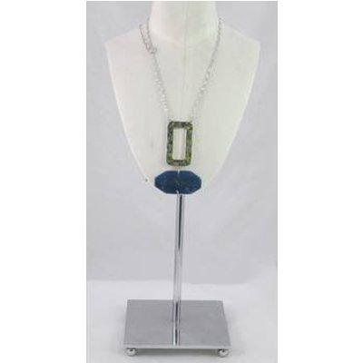 M&S blue marble and silver rectangle pendant necklace