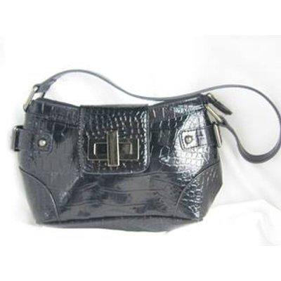 Wallis Black Faux Reptile Skin Patent Handbag