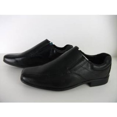 NWOT Marks & Spencer School Boys Slip on  Black Leather Shoes Size 2