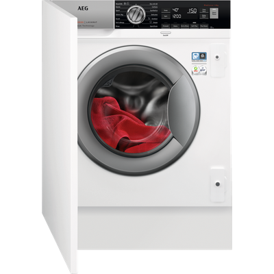 AEG ProSteam Technology L7FC8432BI Integrated 8Kg Washing Machine with 1400 rpm - White - D Rated