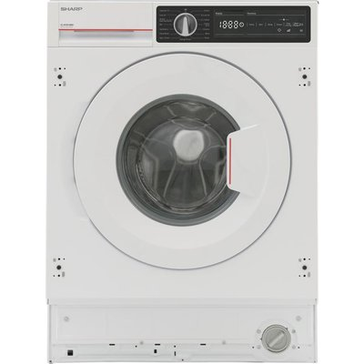 Sharp ES-NIH814BWC-EN Integrated 8Kg Washing Machine with 1400 rpm - White - C Rated