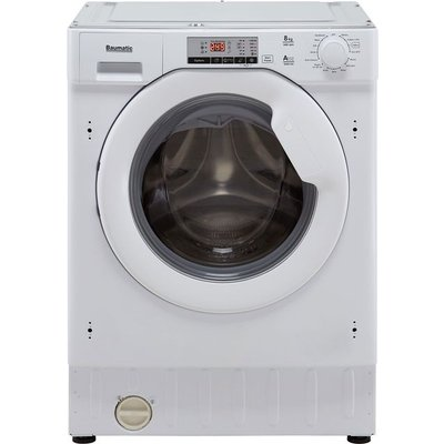 Baumatic BWMI148D Integrated 8Kg Washing Machine with 1400 rpm - White - A+++ Rated
