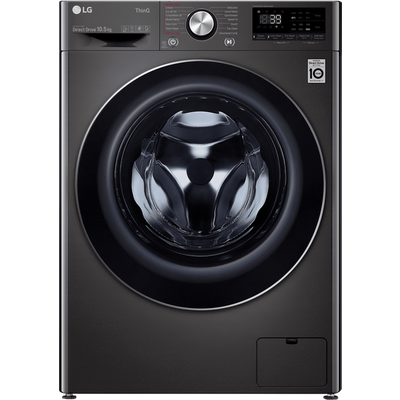 LG V10 F6V1010BTSE Wifi Connected 10.5Kg Washing Machine with 1600 rpm - Black / Stainless Steel - A+++ Rated