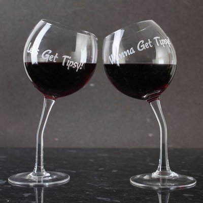 Set of 2 Tipsy Wine Glasses