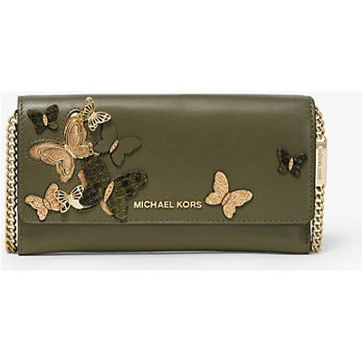 MICHAEL KORS Große Wandelbare Brieftasche Aus Leder Mit Kette Und Schmetterlingsverzierungen