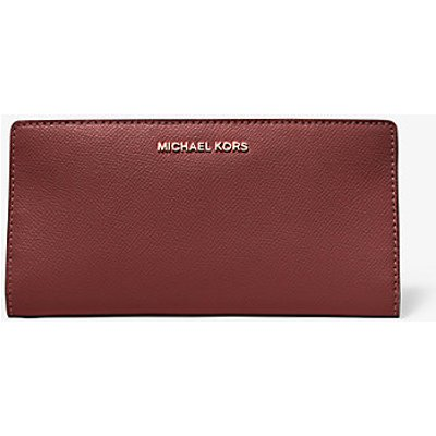 MICHAEL KORS Große Schmale Brieftasche Aus Zweifarbigem Quer Genarbtem Leder