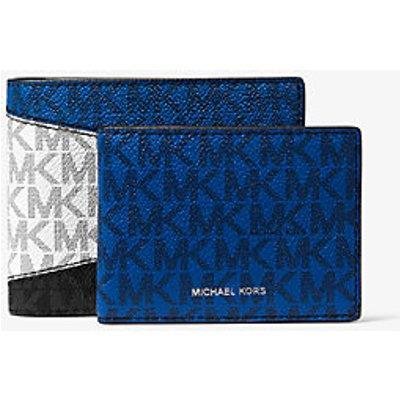 MK Brieftasche Greyson Aus Logostoff In Blockfarben Mit Ausweishülle - Black/marine - Michael Kors