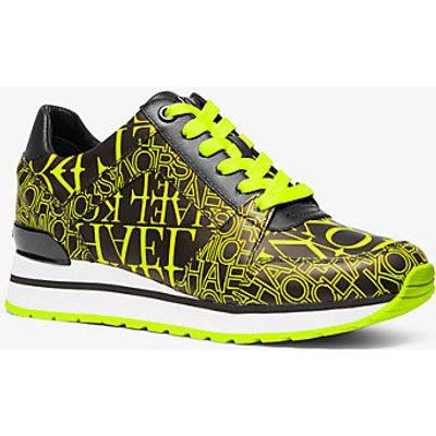 MK Sneaker Billie Aus Leder Mit Logo In Zeitungsoptik - Acid Yellow(Gelb) - Michael Kors