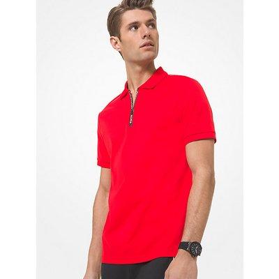 MK Poloshirt Aus Pima-Baumwolle Mit Viertelreißverschluss - Sommerrot(Rot) - Michael Kors   MICHAEL KORS SALE