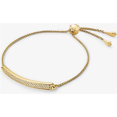 MK Pavé-Armband Aus Sterlingsilber Mit Edelmetallbeschichtung Schiebeknoten Und Plakette - Goldton(Goldton) - Michael Kors