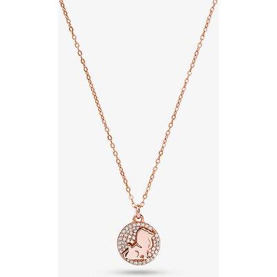 MK Halskette Aus Sterlingsilber Mit 14-Karätiger Rosé-Goldbeschichtung Und Pavé-Löwenanhänger - Rotgoldton(Rotgoldton) - Michael Kors