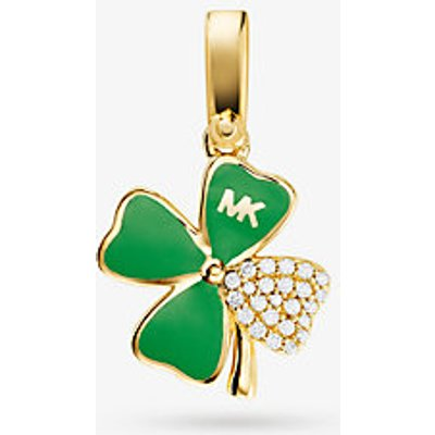 MK Pavé-Anhänger In Kleeblattform Aus Sterlingsilber Mit 14-Karätiger Goldbeschichtung - Goldton(Goldton) - Michael Kors