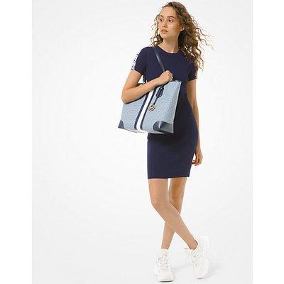 MK Geripptes Kleid Aus Stretch-Viskose Mit Logostreifen - Original-Navyblau(Blau) - Michael Kors