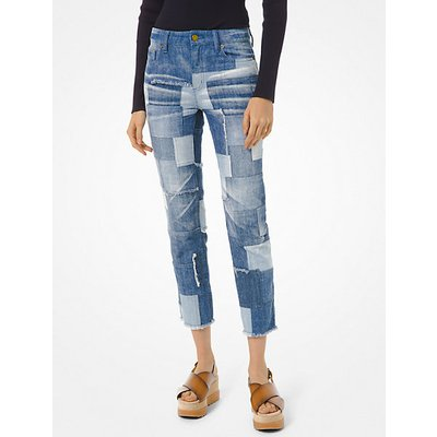 MK Knöchellange Jeans Im Patchwork-Design - Mittlere Waschung(Blau) - Michael Kors