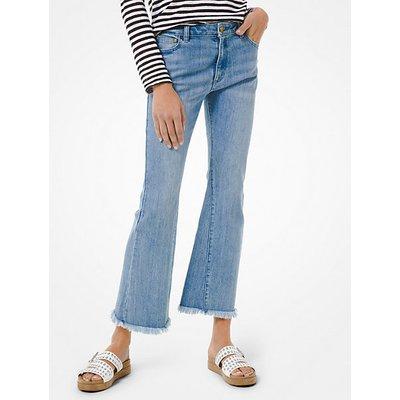 MK Hoch Geschnittene Jeans Aus Stretch-Denim Mit Ausgefranstem Saum - Mittlere Waschung(Blau) - Michael Kors