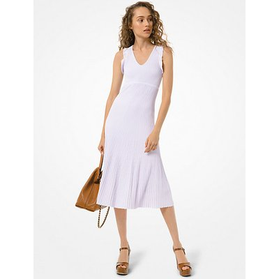MK Kleid Aus Gerippter Stretch-Viskose Mit Rüschen - Lavender Mist - Michael Kors