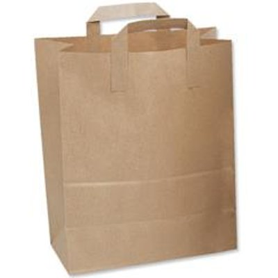 Paper Carrier Bags Flat Handle Brown [Pack 250] [Pack 250]