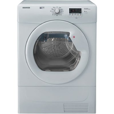 """""With an 8kg load capacity, the Hoover VHC681B condenser Tumble Dryer is a great size for any busy family home. With Hoover's great Empty water indicator and filter care indicator, it is very easy to take care of the machine, and not have to co"