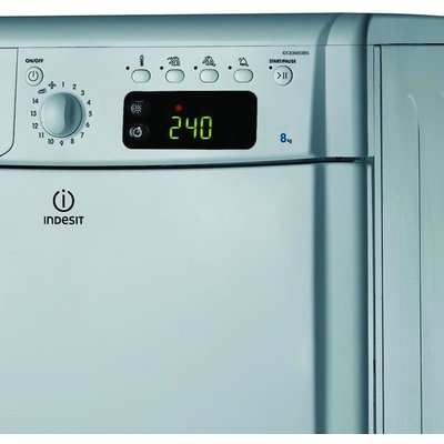 """""The Indesit IDCE8450S Condenser Tumble Dryer boasts a HUGE 8kg load. Not only will you be able to fit a large quantity of garments into the dryer, but you can be assured that all of your drying will come out with perfect results, partly down t"