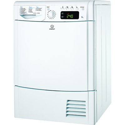 """""The Indesit IDCE8450 Condenser Tumble Dryer boasts a HUGE 8kg load. Not only will you be able to fit a large quantity of garments into the dryer, but you can be assured that all of your drying will come out with perfect results, partly down to"