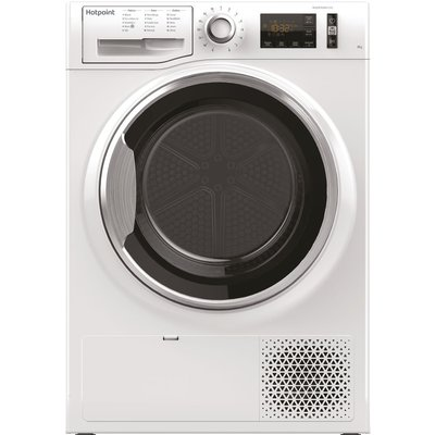 """""This Hotpoint freestanding Tumble Dryer features a spacious 8kg capacity drum.  Innovative technology ensuring extra silent performance.  """" 8kg Load Heat Pump Tumble Dryer Class A++ White"
