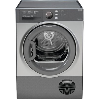 The Hotpoint TCFS83BGG AQUARIUS is a condenser dryer and has a huge capacity 8kg drying load. This model boasts sensor drying which will monitor the temperature and moisture of your clothing. Energy rating is a 'B' but this machine stops itself once it yo