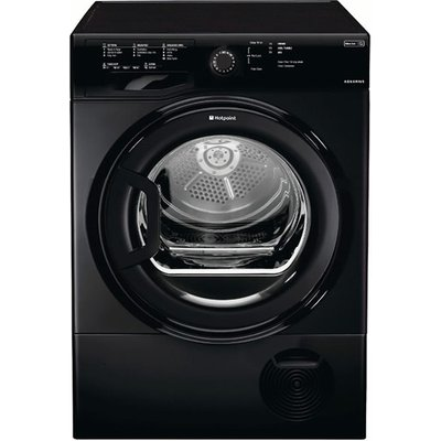 The Hotpoint TCFS83BGK condenser dryer comes in a stylish black finish. The versatility of a Condenser dryers becomes apparent when you can be place it anywhere in the home as there is no need to vent the exhaust air outside. It has an 8kg capacity d
