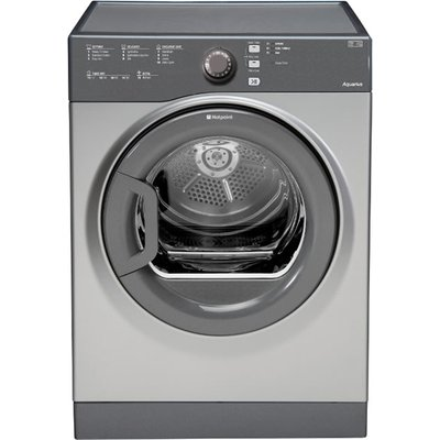 """""The TVFS83CGG vented tumble dryer from Hotpoint Appliances will take care of drying your laundry whenever it's called upon, the big 8kg drum with a large porthole door , makes loading and unloading a breeze, what's more the sensor dr"