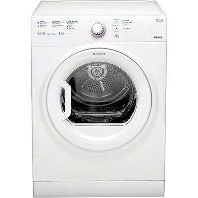 """""The TVFS83CGP vented tumble dryer from Hotpoint Appliances will take care of drying your laundry whenever it's called upon, the big 8kg drum with a large porthole door , makes loading and unloading a breeze, what's mor"