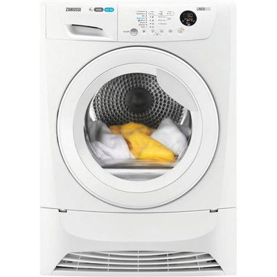 """""Fit more into your dryer, and your day, with the ZDC8203W condenser tumble dryer from Zanussi. It lets you get large loads done in no time at all with the extra-large 8kg drum. You can dry more in one go and it's no fuss fitting clo"
