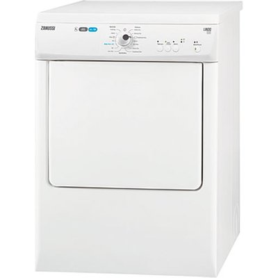 """""""""""With a 7 kg capacity and a whopping 14 programmes to choose from, the Zanussi ZTE7101PZ tumble dryer is a fantastic home appliance. As a vented dryer, this Zanussi model expels hot air and moisture either through a vent or a nearby window. The"""