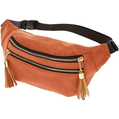 Cognac Zip Front Faux Leather Bumbag