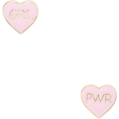 Pink & Gold Girl Power Heart Stud Earrings