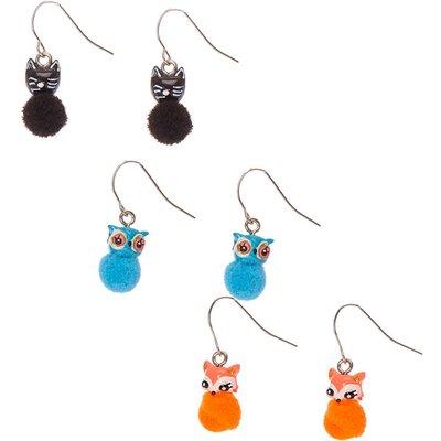Animal Pom  Drop Earrings, Black/Blue/Orange