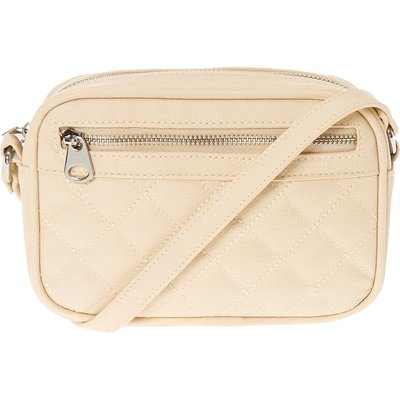 Nude Quilted Faux Leather Crossbody Bag, Cream