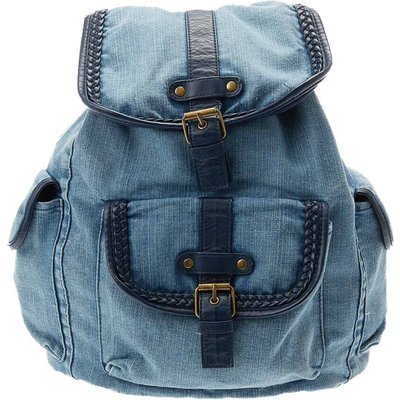 Washed Blue Denim Backpack