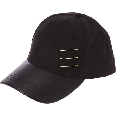 Black Faux Suede and Leather Baseball Hat with Safety Pins