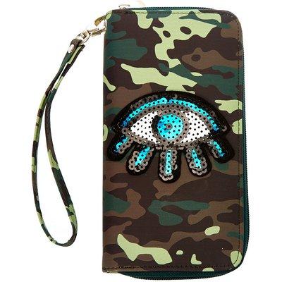 Sequin Eye Camo Wristlet