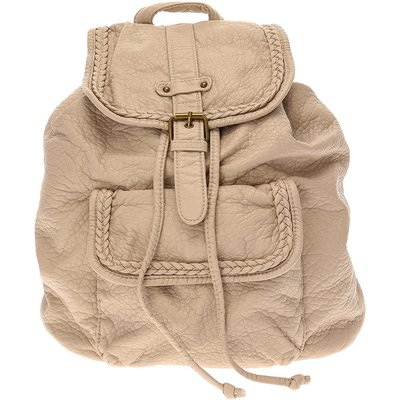 Faux Leather Stone Buckle Front Backpack, Cream