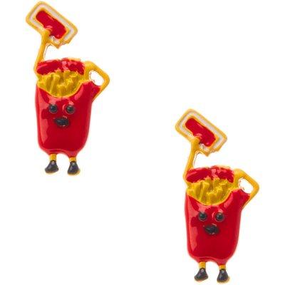 Ketchup Fries Stud Earrings, Red
