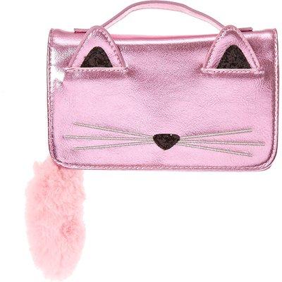 Pink Metallic Cat Crossbody Purse